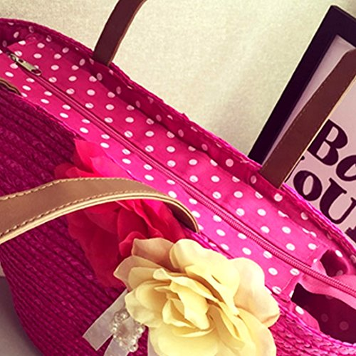 Bag Handbag AiSi Summer Shopping Ladies Basket Beach Reuseable Rose Red Tote Straw Holiday Shoulder Flower apIaq