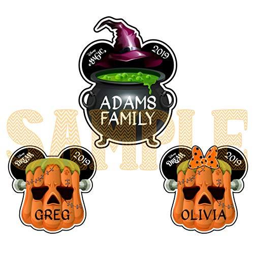 Halloween Disney Cruise Magnet, Halloween Pumpkin, Witches Pot, Frankenstein Head, Halloween Door Family Magnet