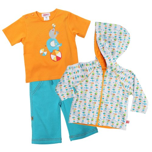 Zutano Baby Boys Fishies Hoodie with Short Sleeve Tee and Boardwalk Pant Set, Multi, 18 Months ()