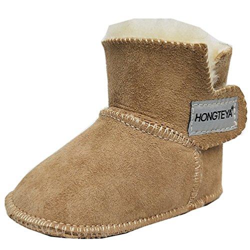 HONGTEYA Sheepskin Baby Bootie -100% Pure Australian Sheepskin Baby Girl's Winter Boots (Infant) (14cm 5.51inch 6-12months, Khaki)