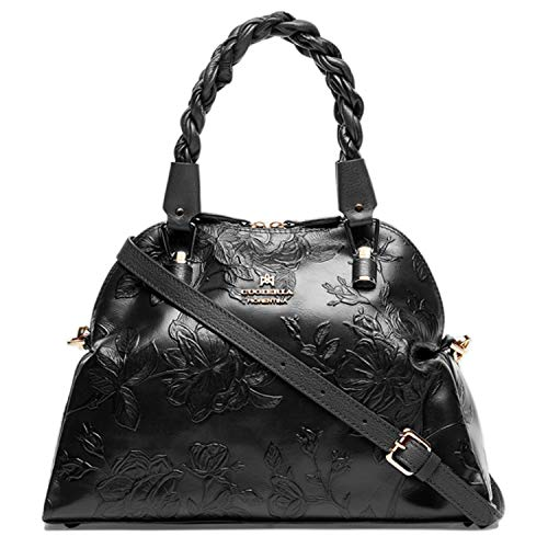 - Cuoieria Fiorentina Italian Embossed Tooled Leather Hobo Handbag (Black)