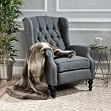 small reclining chairs GDF Studio Elizabeth Tufted Charcoal Fabric Recliner Arm Chair