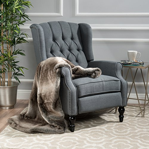 Hugger Fit Denim - Christopher Knight Home 299603 Elizabeth Tufted Accent Chair in Charcoal Gray, Single Recliner Armchair, Elegant and Comfortable