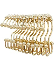 Dciustfhe Shower Curtain Rings Hook Set of 12, Steel Rust Proof Double Glide Roller with Eight Bathroom Curtain Hook Gold