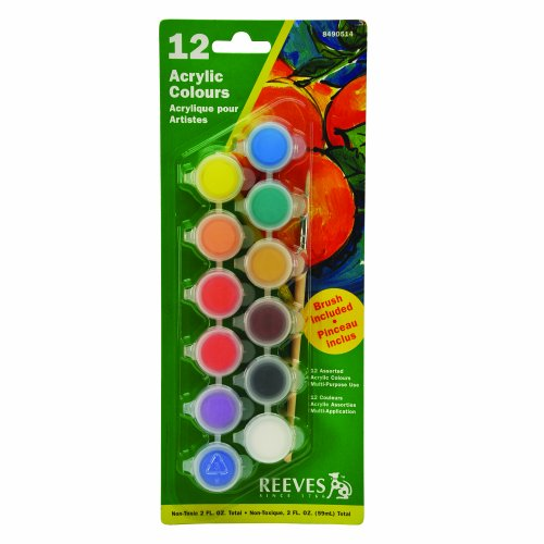 Reeves Set of 12 Artist Acrylic Colour Pots with brush