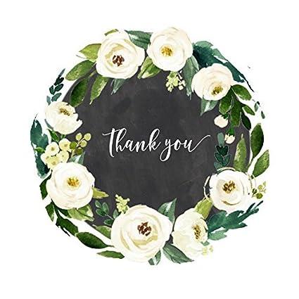 Amazon Chalkboard Thank You Stickers White Watercolor Flower