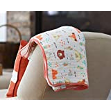 Premium 4 Layer Organic Muslin Everything Blanket by ADDISON BELLE - Oversized 47 inches x 47 inches - Best Baby/Toddler Gift - Toddler Blanket/Dream Blanket (Fox+Bear Print)