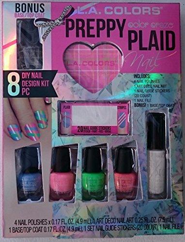L.A. Colors Color Craze Nail Polish Set Preppy Plaid 6 Polishes,Stickers,File (L A Colors Nail Polish Set compare prices)