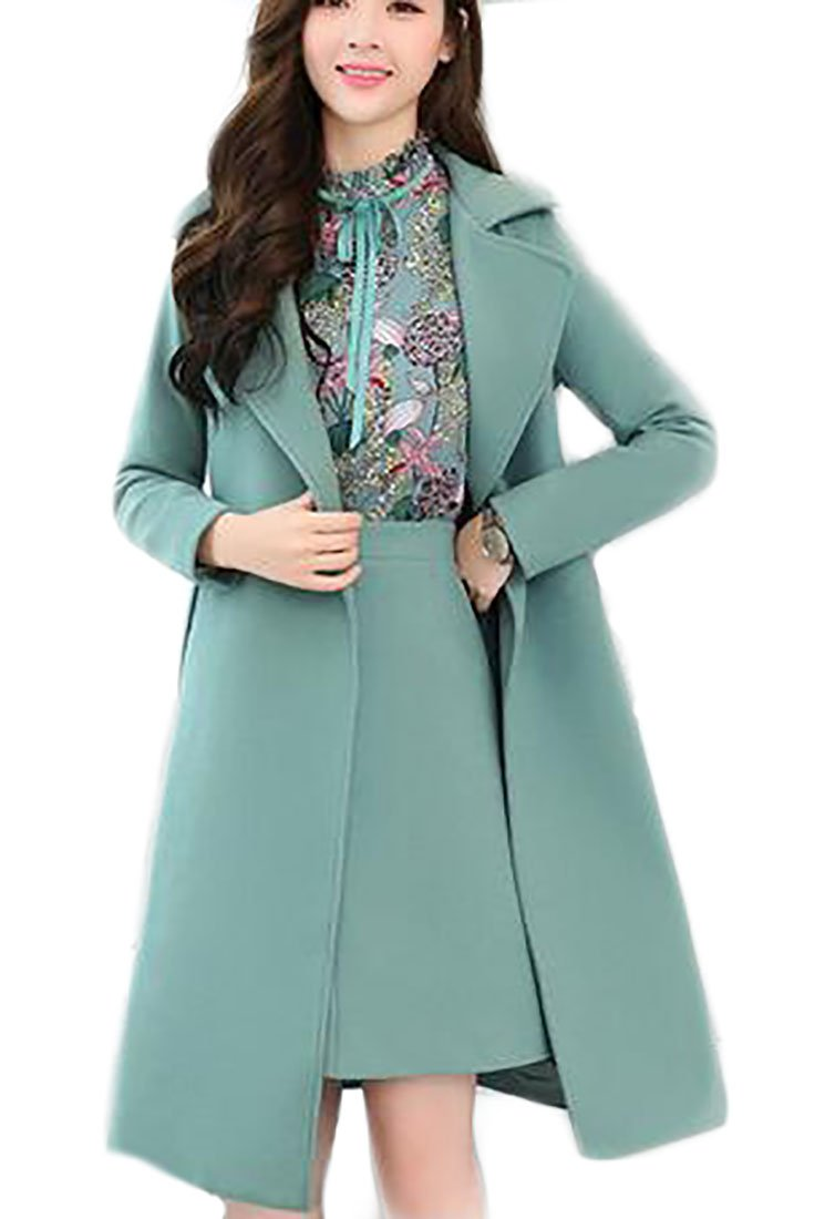 Jmwss QD Women's Elegant Print Blouse Tops and A-Lined Skirt and Wool Blend Trench Coat 3PCS Green S