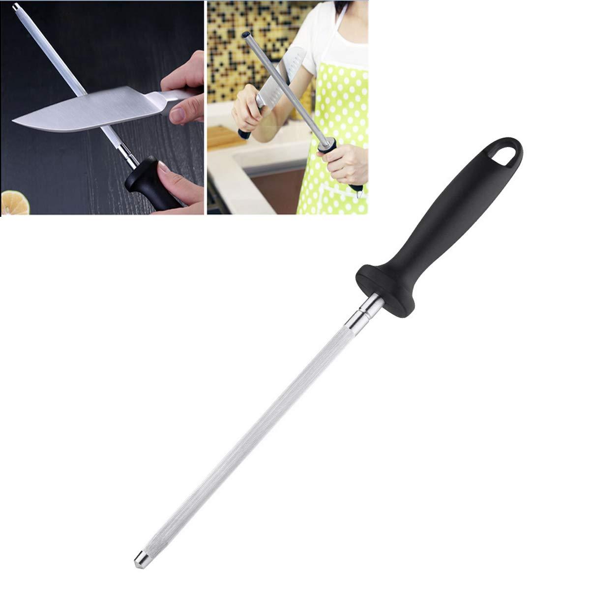 ACORRA 12 inch Diamond Sharpening Rod Lightweight Long Sharpening Sticks Household Honing Rod for Butcher Kitchen
