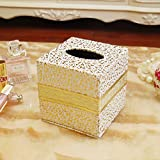 Kaimao-European-Style-Cube-Form-PU-Leather-Tissue-Box-Case-Cover-Bathroom-Paper-Napkin-Holder-Home-Office-Decor-Golden-Carved-Patterns-135cm-x-135cm-x-14cm