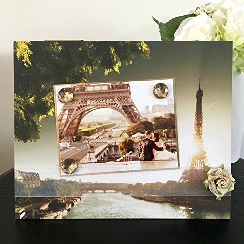 """Paris Eiffel Tower on the Seine floral sunset vacation jeweled gift handmade magnetic picture frame holds 5"""" x 7"""" photo 9"""" x 11"""" size"""
