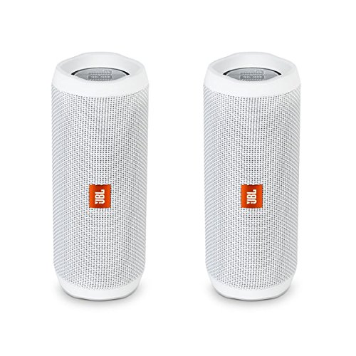 JBL Flip 4 Waterproof Portable Wireless Bluetooth Speaker Bundle - (Pair) White