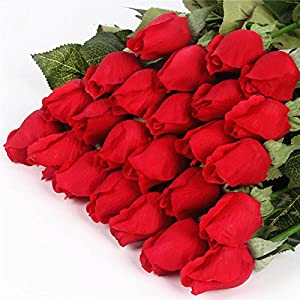 DHD Real Touch Rose Bud 25Pcs/Lot Artificial Silk Wedding Flowers Bouquet Home Decorations for Wedding Party Or Birthday Small Buds 47