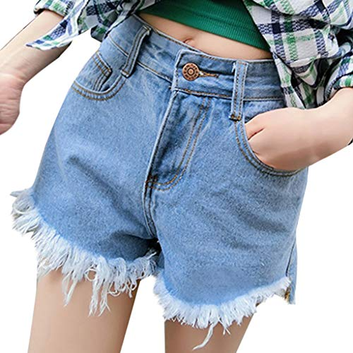 ZEFOTIM Casual Pants for Women High Waisted Washed Ripped Hole Short Mini Jeans Denim Pants Shorts(Light Blue,Small)
