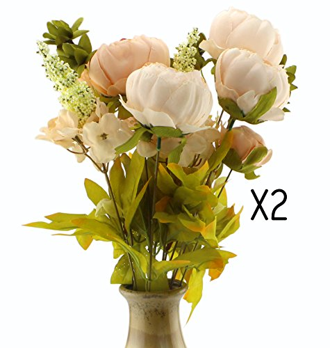 Silk Flower Bouquets Artificial (2-Pack), 2 Bunches of Peach Colored Peonies w/ White & Pink; Faux Blossoms Great for Wedding & Bridal and Home Decor, Vintage Style