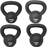 Cast Iron Kettlebell Weight Set 10, 15, 20, 25 lb Total Solid Titan Fitness