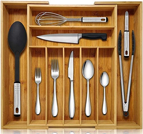 environmentally size-adjustable kitchen utensil drawer divider for storing high-grade cutlery and cutlery tray 100/% natural bamboo K.T.Z Natural bamboo expandable kitchen drawer storage box