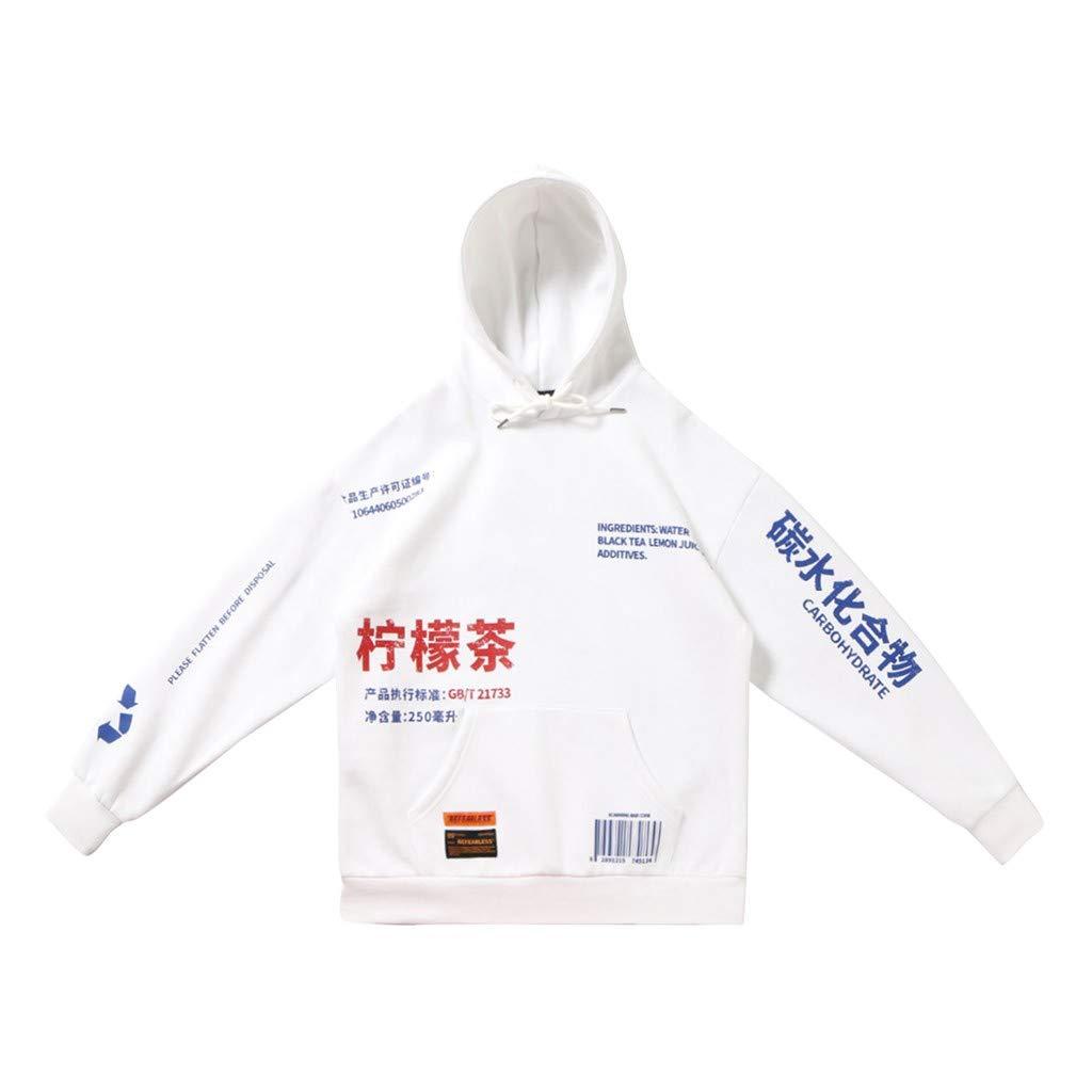 VZEXA Mens Hoodies Hooded Printing Sweatshirt Streetwear Long Sleeve Tops (White,XL) by VZEXA