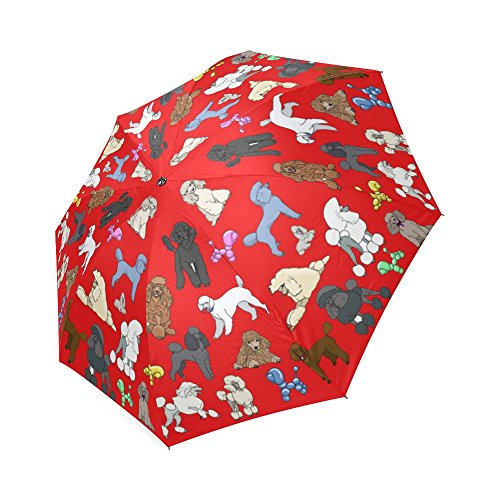 Artsadd Fashion Umbrella Poodle Umbrella Red Foldable Sun Rain Travel (Poodle Umbrella)