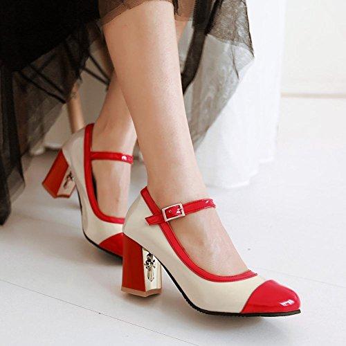 Zapatos De La Bomba De La Correa Del Tobillo Del Tacón Alto Multicolor De La Manera De La Mujer Del Pie Atractivo Rojo