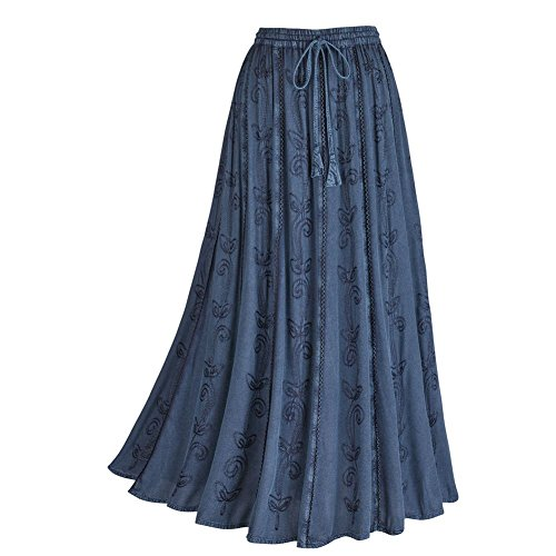 Women's Embroidered Broom Fancy Peasant Skirt - Enzyme Wash - Denim - 2X