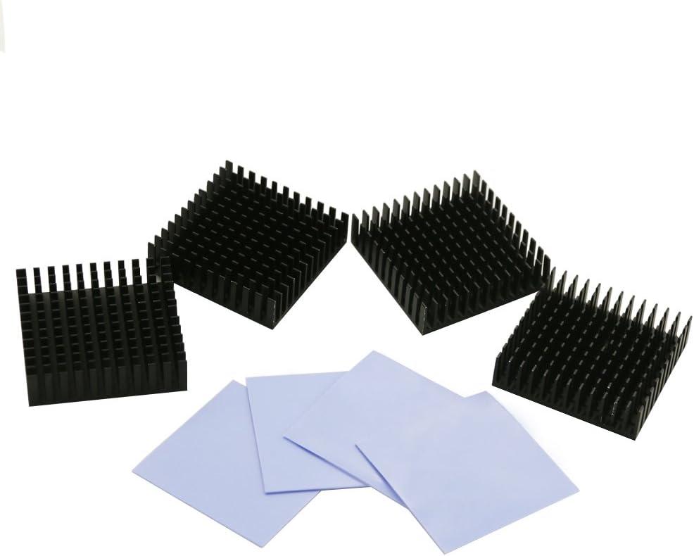 BNTECHGO 4 Pcs 40mm x 40mm x 11mm Black Aluminum Heatsink Cooling Fin + 4 Pcs 40mm x 40mm x 0.5mm Silicone Based Thermal Pad