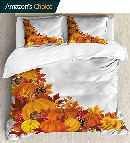 carmaxs-home Kids Quilt 3 Piece Bedding Set,Box Stitched,Soft,Breathable,Hypoallergenic,Fade Resistant Bedding Sets,1 Duvet Cover,2 Pillowcase-Pumpkin Berry Pine Cone Arrangement (90
