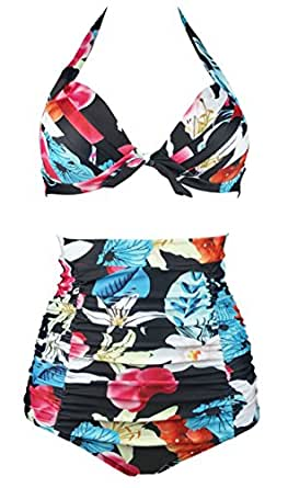Cocoship Black & Colorful Vibe Floral Leaves Vintage High Waisted Bikini Ruched Swimsuits Two Piece Bathing Suit S(FBA)
