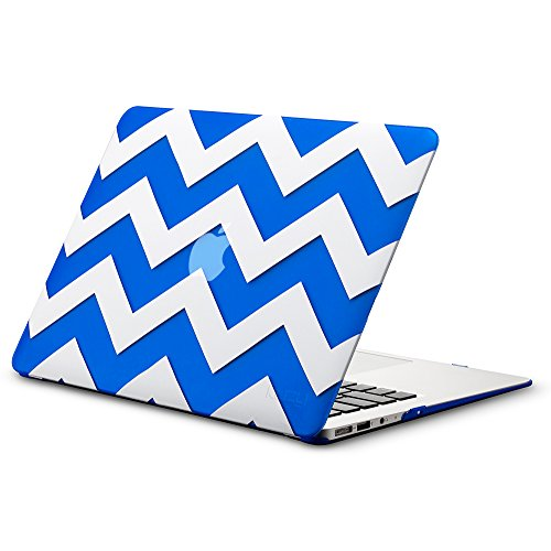 """Kuzy AIR 13-inch Chevron BLUE Rubberized Hard Case for MacBook Air 13.3"""" (A1466 & A1369) (NEWEST VERSION) Shell Cover - Chevron BLUE"""