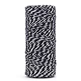 100 M/328 Feet Durable Cotton Baker's Twine String,Heavy Duty Packing Bakers Twine for Gardening Applications (Black and White)