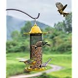 WandLee Parrot Pigeon Panorama Patio Garden Wild Bird Feeder - Small Hole Metal Net - Yellow