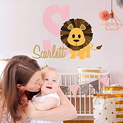 Personalized Name Lion - Wild Jungle King Animal - Boy Girl Unisex Baby - Wall Decal Nursery for Home Bedroom Children (118) (Wide 22