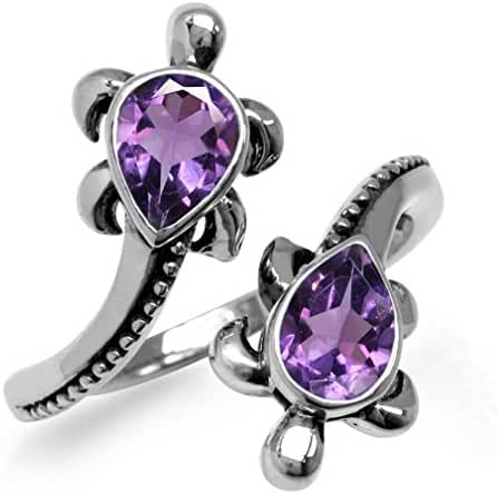 1.24ct. Natural Amethyst 925 Sterling Silver TURTLE Bypass Ring