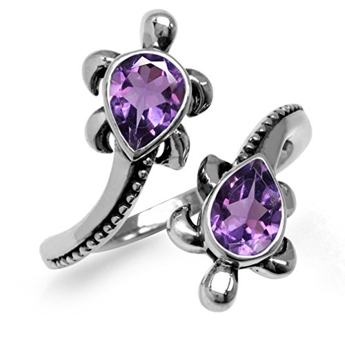 1.24ct. Natural Amethyst 925 Sterling Silver TURTLE Bypass Ring Size 7 Turtle Ring