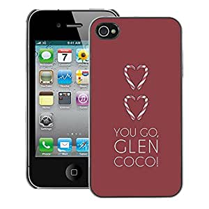 Supergiant (Love You Go Glen Brown Minimalist Heart) Impreso colorido protector duro espalda Funda piel de Shell para iPhone 4 / 4S