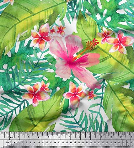 - Soimoi White Cotton Poplin Fabric Leaves & Plumeria Flower Tropical Print Fabric by The Yard 56 Inch Wide