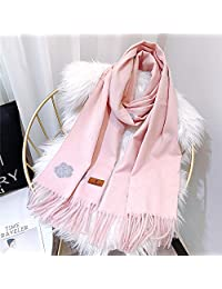 YUANZ Home Korean Girl Powder Cut Flower Camellia Scarf Thick Warm Shawl Autumn and Winter Long Tassel Scarf (Color : Pink, Size : 180 * 70)