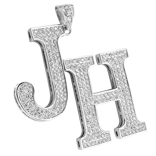 Initial Alphabet Letter Pendant A-Z 14k White Gold Finish Steel 24'' Free Chain Lab Diamond by Master Of Bling
