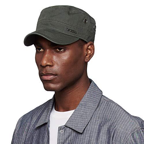 CACUSS Men's Cotton Army Cap Cadet Hat Military Flat Top Adjustable Baseball Cap (P0042_Olive)