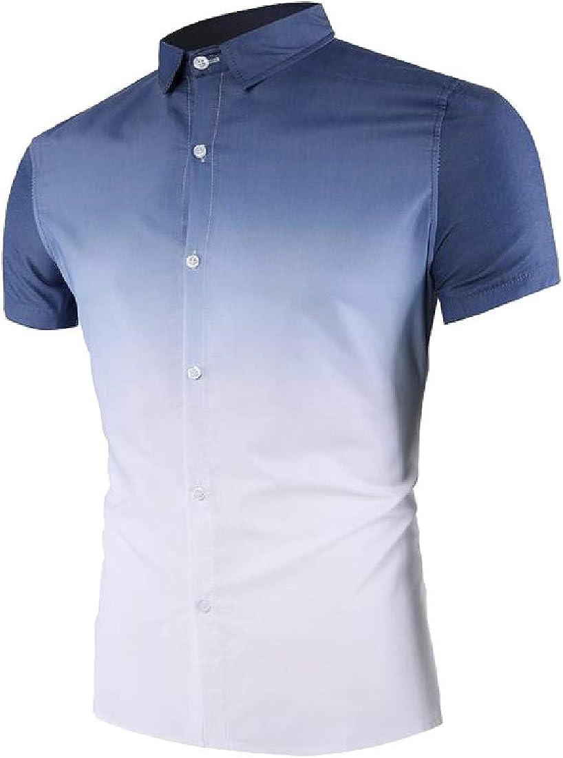 Hajotrawa Mens Curved Hem Business Short Sleeve Ombre Lapel Neck Button Down Shirts