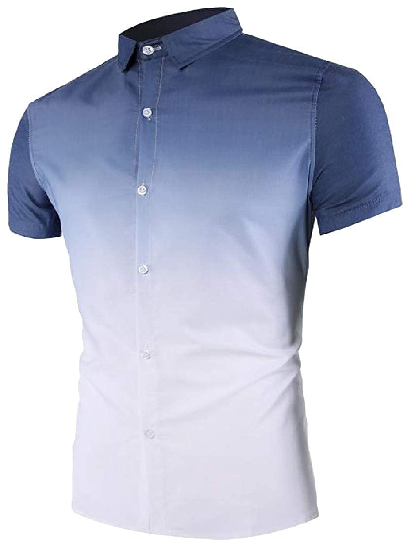 Pandapang Mens Short Sleeve Curved Hem Lapel Neck Ombre Slim Button Down Shirts