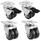 "FEMOR 4 Pack 2"" Swivel Caster Wheels, Heavy Duty Twin Wheels with 360 Degree Top Plate, Replacement Wheels for Carts, Furniture, Dolly, Workbench, Trolley"