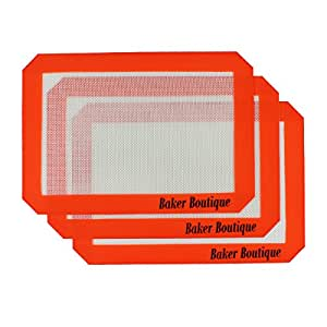 """Silicone Baking Mat Set of 3 Non Stick Reusable Flexible Heat Resistant Red, 11.6"""" x 8"""""""