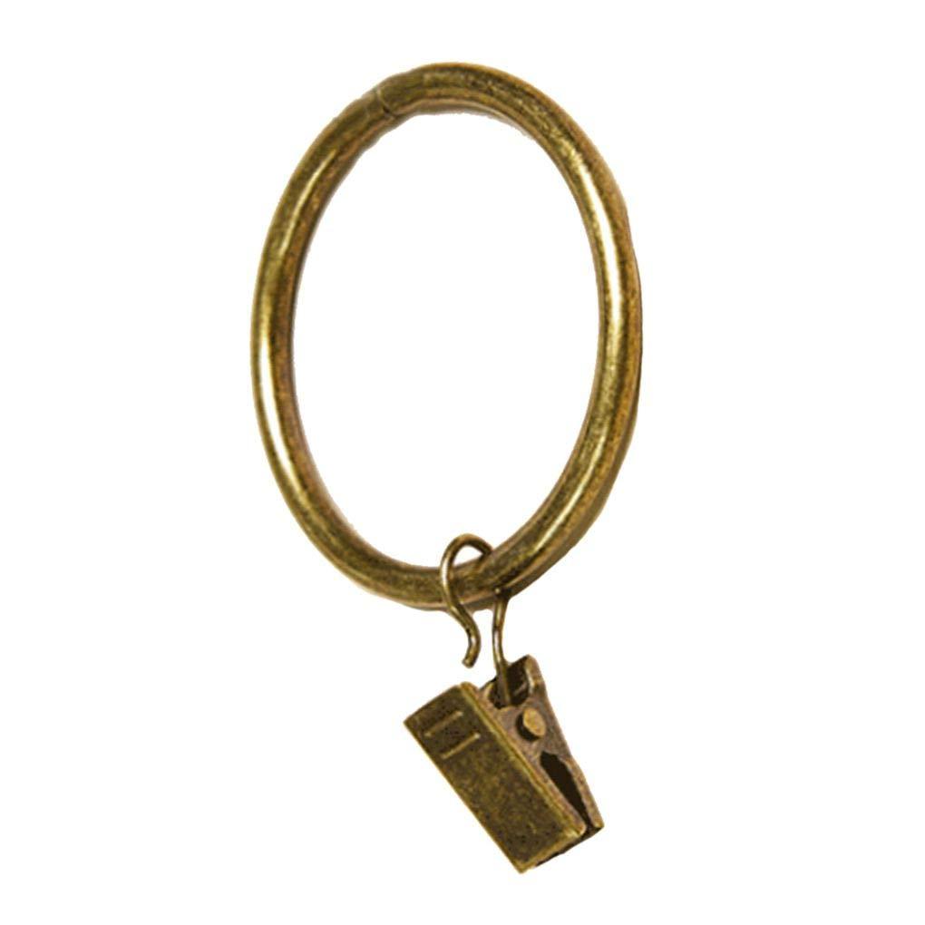 Lindahaot 10pcs Anneaux de Rideau en m/étal avec des Clips Antirouille Vintage corative fen/être Accessoires Couleur Vert Bronze 3.5mm*25mm