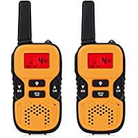 Kids Walkie Talkies, Alotm 2Pcs Two Ways Radio Toy 22 Channels 3 Miles FRS Long Range Walky-Talky with LED light, Handheld Mini Walkie Talkie for Outdoor Toys, Best Gifts For Girls & Boys (Orange)