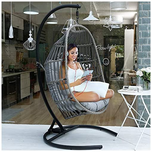 Motrip Wicker Rattan Swing Chair Hanging Chair Outdoor Patio Porch Lounge Egg Chair With Stand In Black Olefin Fabric Cushion Beachfront Decor