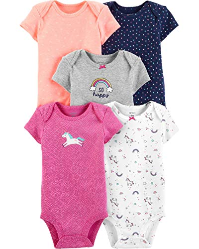 Carter's Baby Girls' 5 Pack Bodysuits (Baby), Kitty Love
