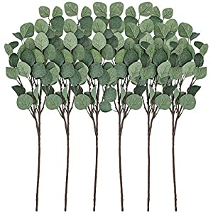 CEWOR Artificial Silver Dollar Eucalyptus Stems 6pcs Artificial Eucalyptus Leaves Fake Plants Artificial Leaves for Home Decoration(25.5in, Gray Green) 8