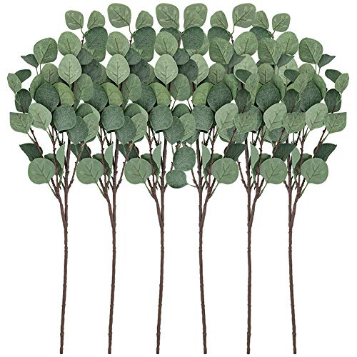 CEWOR Artificial Silver Dollar Eucalyptus Leaf Spray 6pcs Artificial Plants Artificial Leaves for Home Decoration(25.5in, Gray Green)
